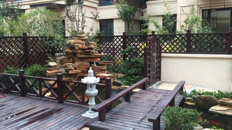 朗诗麓院叠拼别墅一楼庭院——中式庭院